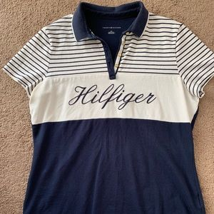 Tommy Hilfiger Blue Short Sleeve Polo Shirt Size L